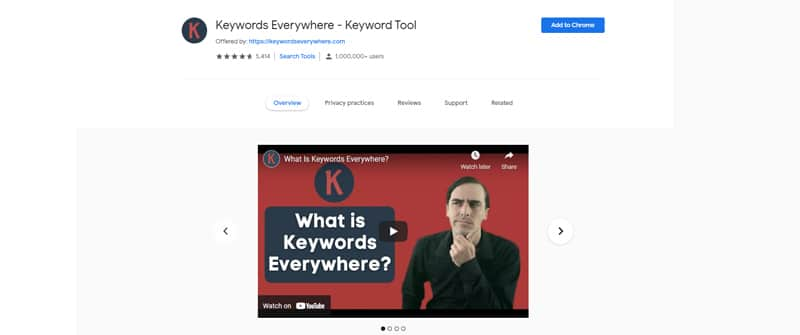 keywords everywhere browser extension