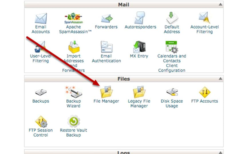 search for the directory in cpanel