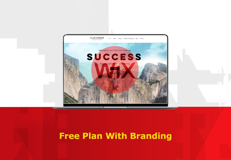 wix site builder free plan with branding